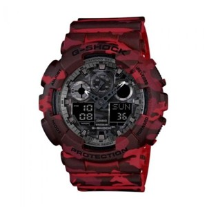 Casio G-Shock Watch GA-100CM-4A- Camouflage Red